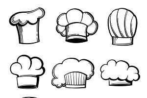 Outline chef hats and toques set