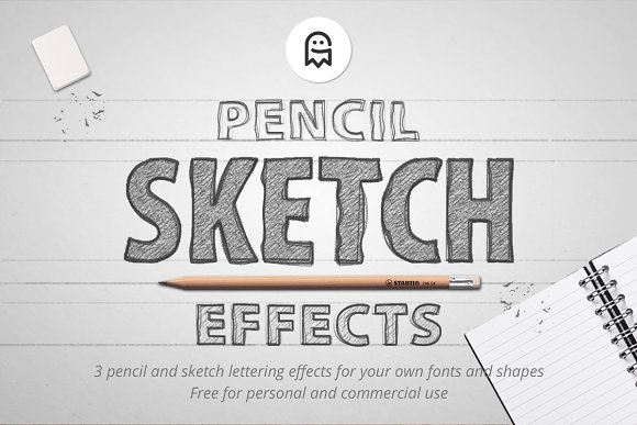 Pencil sketch effects layer styles creative market fandeluxe Choice Image