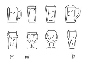 Beer vector line icons