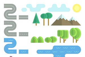 Landscape flat vector elements