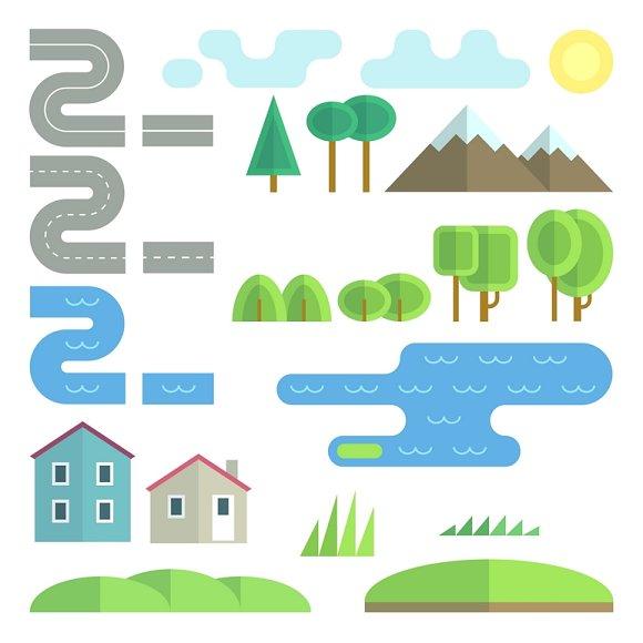 Landscape Flat Vector Elements