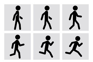 Walking and running people icons