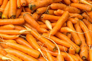 Orange carrots on display
