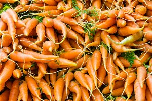 Carrots on display at the market