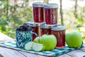 Homemade blackberry apple jam