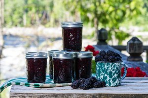 Homemade marionberry jam or preserves
