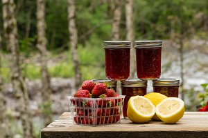 Fresh strawberry lemon curd jam