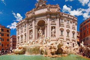 Trevi Fountain or Fontana di Trevi in Rome, Italy