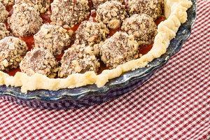 Fresh strawberry pie with chocolate covered strawberries