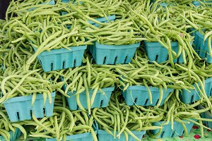 Freshly picked green or string beans at the market