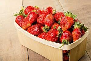 Freshly picked strawberries in a basket
