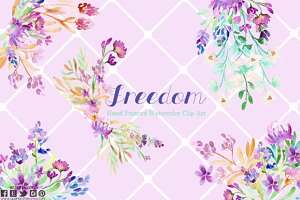 Freedom floral watercolor clip art