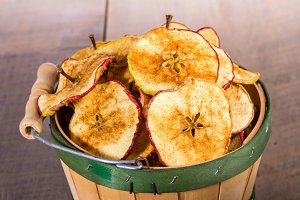 Dried apple slices with stems