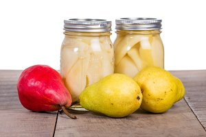 Pears and canned pears in jars
