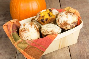 Basket of homemade pumpkin muffins
