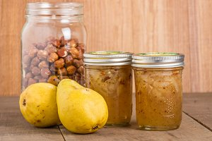 Hazelnut and pear conserve in jars
