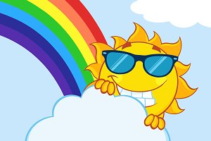 Smiling Summer Sun With Rainbow