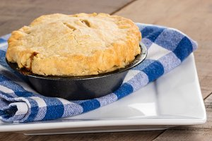 Turkey pot pie fresh from the oven