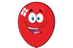 Happy Red Balloon Cartoon Character