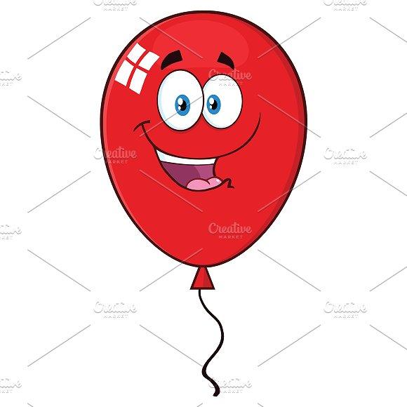 Happy Red Balloon Cartoon Character