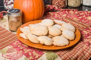 Pumpkin cookies or biscuits on a plate