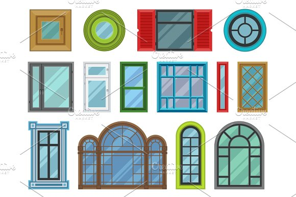 Different Types House Windows Elements Flat Style Frames Construction Decoration Apartment Vector Illustration
