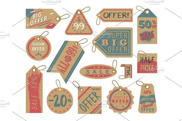 Craft Paper Tag Shop Clothes Sale Stiker Cardboard Gift Price Vintage Brown Label Card Vector Illustrations
