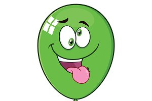 Crazy Green Balloon Character