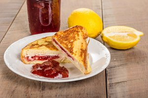 French toast stuffed with cream cheese and strawberry jelly