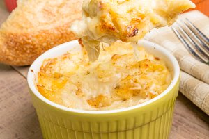 Fresh baked Dungeness Crab macaroni and cheese
