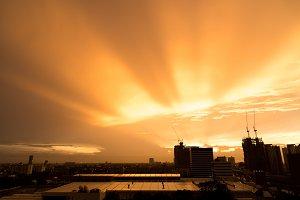 twilight sunset sky over city