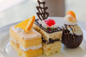 cake dessert on dish in restaurant.