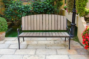 benches decorate in beautiful garden
