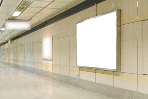 Blank billboard in modern interior