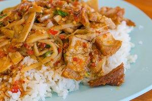 Fried rice with basil pork.