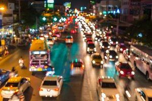 light Evening traffic jam on road