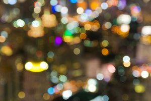 bokeh of cityscape at twilight time.