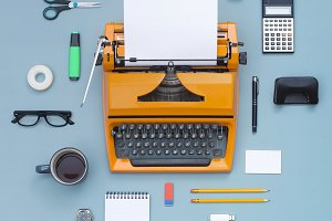 Retro typewriter items cloud