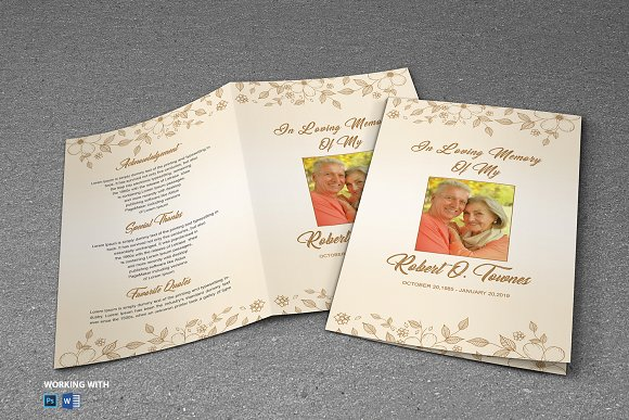 Funeral Program Template Golden