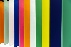 rows of colorful wood panel