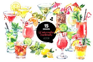 Cocktails Watercolor Vector Set