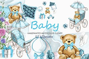 Baby Boy Watercolor Clipart