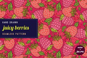 Strawberries and raspberries pattern