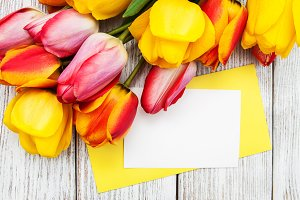 Tulips and card
