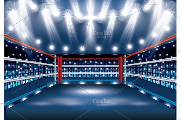 Boxing Ring with Spotlights.