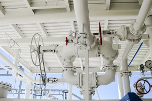 Double safety valve on the pressure vessel. Refinery equipment.