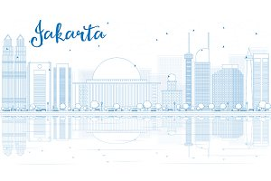Outline Jakarta skyline