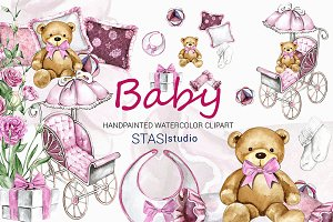 Watercolor Baby Girl Clipart