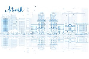 Outline Minsk skyline