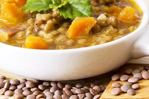 Lentil casserole on wooden table